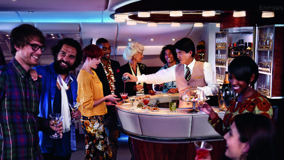 Emirates A380 - exklusive Bord-Lounge für First und Business Class